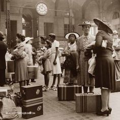 Midnight Train to Georgia   1942    A group of African American women waiting for their trains at the Pennsylvania railroad station, New York City, 1942. Sepia tone (original b). by Black History Album, via Flickr
