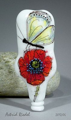 Poppy and Butterfly Lampwork focal bead by Astrid by AstridRiedel, $95.00