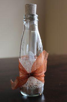 Wedding invitation in a bottle, cute!!