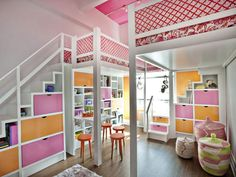 Custom Lofts.   Traditional bunk beds are one thing, but taking sleeping arrangements to soaring new heights is another. Go vertical and create some additional space by lofting the girls' room. By giving each girl her own loft area each with a private staircase, each has a small hideout from the world and a space of her own to dream in.