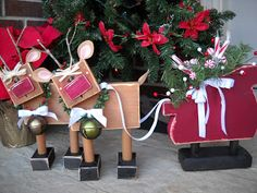 Craft Goodies: Reindeer Upgrade and a Sleigh from 2x4s or try recycling unmounted stamp blocks.