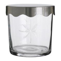 LILLHOLMEN Jar with lid IKEA Convenient storage for cotton balls, swabs, hair clips etc. Dishwasher safe.