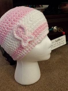Crochet Pink & White Beanie with breast cancer ribbon - for cancer patients