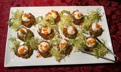 Gluten-free elegance is served with these potato pancakes with smoked salmon mousse and caviar at Match Works Tavern in Mentor.
