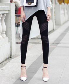 Stretch Black Leggings with Chiffon Detail