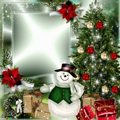 Christmas tree frame by Alma50. Click through to add a photo and save or share this! From www.imikimi.com  #snowman #imikimi #Christmas #tree