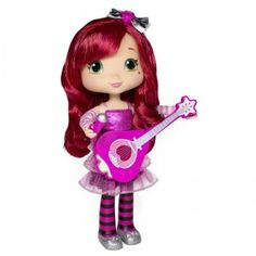 Singing Strawberry Shortcake comes with a guitar, microphone, comb, and backstage pass, and the doll sings and talks when you press its belly or raise its arm.