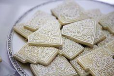 Henna Cookies. Photo via Martha Stewart Weddings wedding henna, henna cake, diamonds, weddings, henna cooki, hennas, martha stewart, cookies, parti