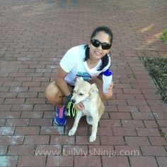 "Blogger Maria Huff pictured with her Simple Hydration Water Bottle and her dog Elijah. Maria says ""Last year I was introduced to the Simple Hydration Bottle. Oh. Em. Gee. This has totally made my running with water much more simple! Yes, I'm serious!"""