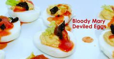 Who needs a Bloody Mary when you can have Bloody Mary Deviled Eggs. (That's what I always say.) #recipe #eggs
