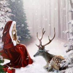 <3 child and deer  - snowy woods - ready for Xmas