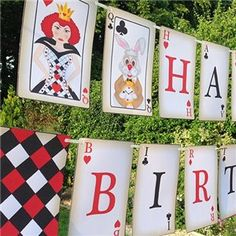 Mad Hatter Card Bunting Small, mad hatter party, alice in wonderland party