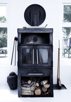 black woodstove