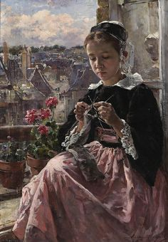 Marie Aimée Lucas-Robiquet by Hauk Sven  A young Breton girl knitting by a window. French, 1858-1959