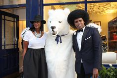 Prince Cassius posing outside of Brook Street's Aspinal of London with the Aspinal Polar Bear