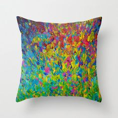 DECORATIVE THROW PILLOW Cover 18 x 18 Bold Colorful by EbiEmporium, $30.00