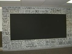 Inspiring verses on the wall of a youth room, with a chalk board in the middle.  Love it!