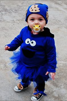 Jasmine s 2012 Homemade Cookie Monster costume with cookie headbandHomemade Cookie Monster Halloween Costume