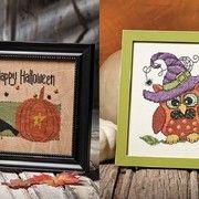 Pumpkins and owls Halloween cross stitch patterns.