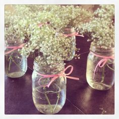. babies breath, erika shower, pale pink, pink ribbons, mason jars, baby's breath in mason jar, babi breath