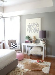 wall colors, wall art, grey walls, decorating blogs, color schemes, monogram crafts, bedroom colors, cowhide rugs, master bedrooms