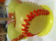 Softball Caramel Apples idea, softbal caramel, baseball, food, softball desserts, caramels, october, softball caramel apples, carmel appl