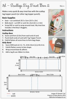 Stampin Up Scallop Tag Topper punch treat box with instructions pdf by Di Barnes #stampinupau #stampinup #colourmehappy