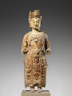 Bodhisattva, probably Avalokiteshvara (Guanyin)    Period:      Northern Qi dynasty (550–577)  Date:      ca. 550–560  Culture:      China  Medium:      Sandstone with pigment