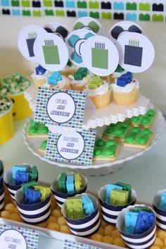 Lego birthday party treat table