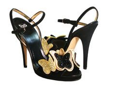 """Dolce & Gabbana """"Twinkling Butterfly"""" Black and Gold Crystal $1395"""