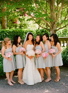 gray bridesmaids dresses