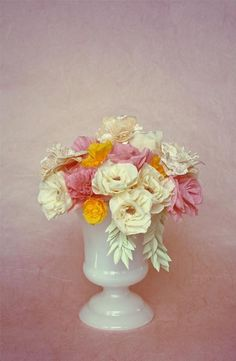 Bouquet with crepe paper flowers.