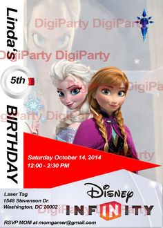 Frozen Disney Infinity  -SAME DAY SERVICE- Birthday Party Personalized Invitation