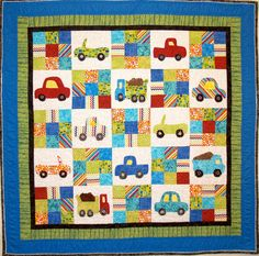 """On The Go"".  Applique and patchwork quilt I made for my grandson!"