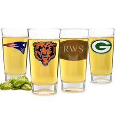 Engraved NFL team pint glasses for your pigskin-loving groomsmen