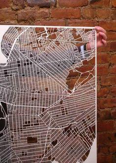laser-cut paper map.