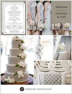 Pantone has released their Fall 2014 Color Report, and we are pleased to bring you new on-trend wedding inspiration. We're starting off with a focus on Aluminum, a neutral stainless steel hue.