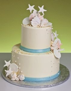 Cake Idea #2 Probably not with a lot of the seashells because the theme is more of a hint of ocean
