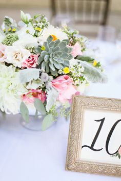 Pink Rose and Succulent Reception Arrangement   photography by www.adriennegunde...