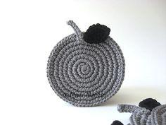 Grey Apple Crochet Coasters . Azabache Elegant by MariMartin, $24.00