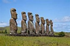 Landscape view of the Easter Island statues - Easter Island, Chile