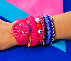 Sporty but not GPS-on-your-wrist hard-core? You'll be moved by this water-resistant Swatch ($120; Store.Swatch.com) with a timer. Pair with rubber and macramé bracelets—they're like fancy sweatbands. #ArmParty