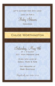 Baby Blue Damask Invitation