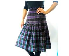 1950s Pleated Tartan Skirt by Azucena Vintage, $50.00