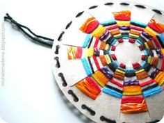 For older kids:  Woven Sun Craft, made from a cereal box and pieces of yarn. woven sun, ornament, cereal boxes, weaving projects, cereals, yarn, summer solstice, kid crafts, paper plates