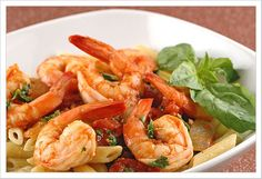 Penne with Spicy Shrimp and Basil