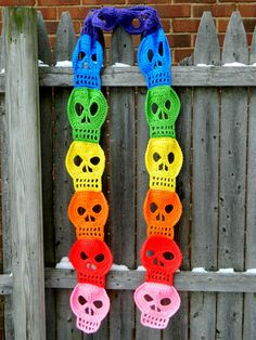 Trendy and cool Rainbow Skull Scarf by UnraveledCrafter.  An Etsy design, but maybe you can find some inspiration from the pattern!