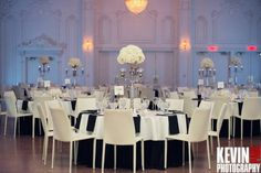 Rant Tall silver candelabras and fill with White Hydrangea Centerpieces