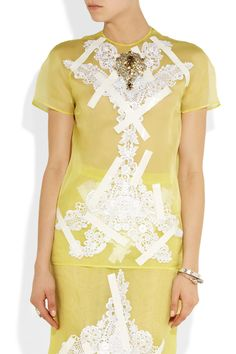 Christopher Kane | Lace and crystal-appliquéd silk-organza top | NET-A-PORTER.COM