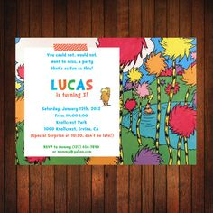 Lorax Birthday Invitation Original Lorax by ThatsSoCuteEtsyShop, $12.00